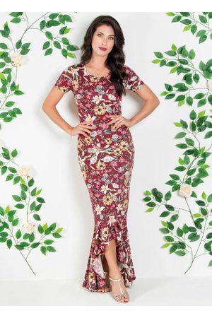 QUEIMA ESTOQUE Mulher Vestido Estampado - Vestido Mullet com Babado na Barra Floral Bordô