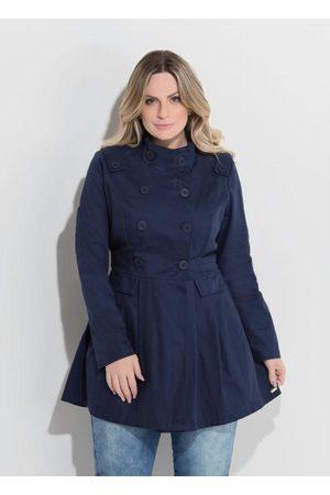 QUINTESS Mulher Trench Coat - Casaco Acinturado Marinho Plus Size