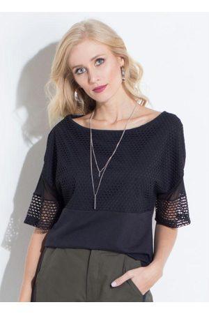 QUINTESS Mulher Blusa - Blusa Preta com Recortes em Tecido Arrastão