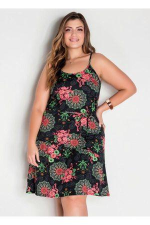 Marguerite Vestido de Alças Floral Fluído Midi Plus Size