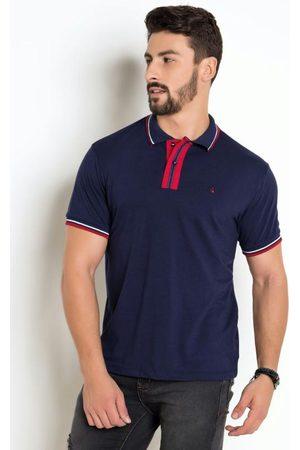 Actual Homem Camisa Formal - Camisa AzulPolo com Detalhe no Peitilho