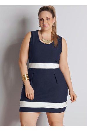QUINTESS Mulher Vestidos - Vestido Bicolor Plus Size Marinho e Branco