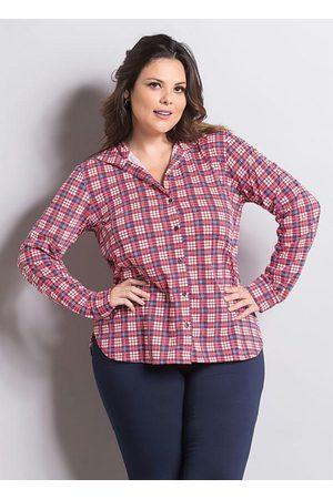 Marguerite Camisa Manga Longa Xadrez Plus Size