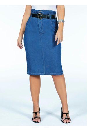 QUINTESS Mulher Saia Midi - Saia Clochard Jeans Cintura Alta com Bolsos