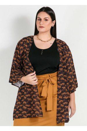 Mink Mulher Quimono - Kimono Plus Size Estampado Oncinhas