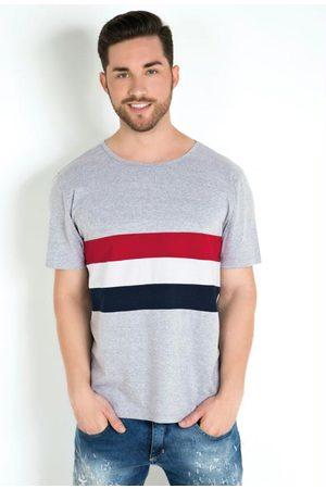 QUEIMA ESTOQUE Camiseta com Recortes Frente Mescla