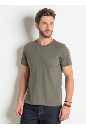 QUEIMA ESTOQUE Homem Manga Curta - Camiseta com Bolso e Estampa Étnica Azul