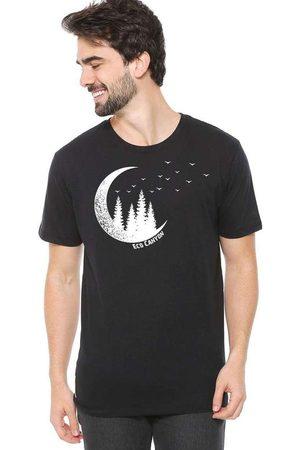 Eco Canyon Homem Manga Curta - Camiseta de Algodão Masculina Lua Preta