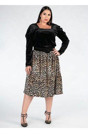 Mink Blusa Plus Size Preta Decote Quadrado