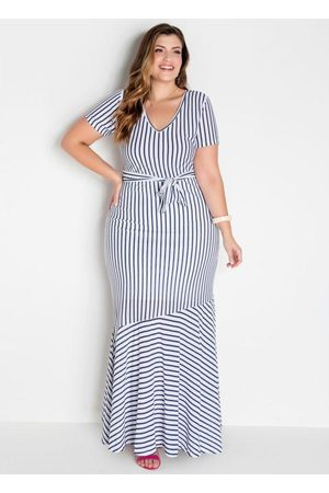 Marguerite Mulher Vestido Estampado - Vestido Longo Listrado Plus Size com Amarração