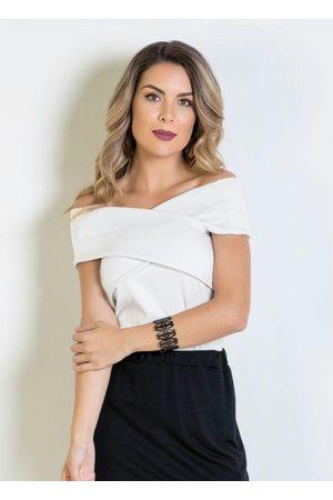 QUEIMA ESTOQUE Mulher Blusa - Blusa Ombro a Ombro Branca de Ribana