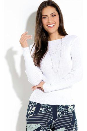 QUINTESS Mulher Suéter - Suéter em Tricot Canelado Off White