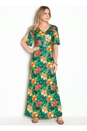 QUEIMA ESTOQUE Vestido Longo Floral com Recorte Vazado