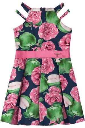 CARINHOSO Menina Vestido Estampado - Vestido Marinho Godê Floral Alças Duplas