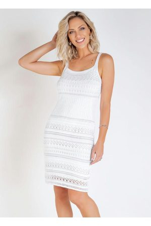 Janine Vestido em Tricô BrancoCom Fios Metalizados