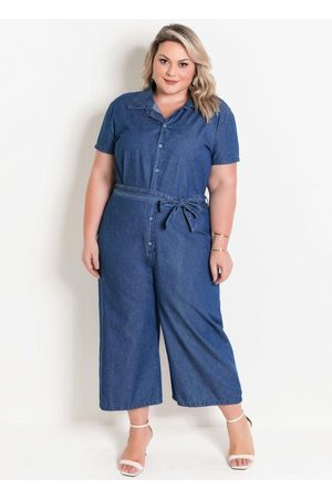 Marguerite Macacão Jeans Utilitário Plus Size