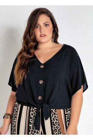 Mink Mulher Camisa Formal - Camisa Plus Size Cropped Preta com Amarração