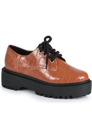 Offline Sapato Feno Oxford Croco Caramelo