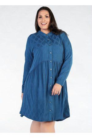 Mink Mulher Vestido Médio - Vestido Plus Size com Botões