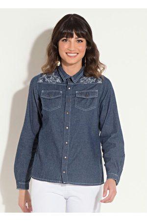 QUINTESS Mulher Camisa Casual - Camisa Jeans Bordada