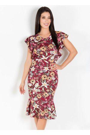 QUEIMA ESTOQUE Vestido Floral Bordô com Babado Lateral e Barra