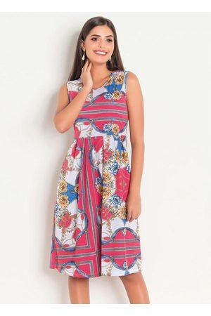 QUEIMA ESTOQUE Mulher Vestido Médio - Vestido com Pregas Correntes Moda Evangélica