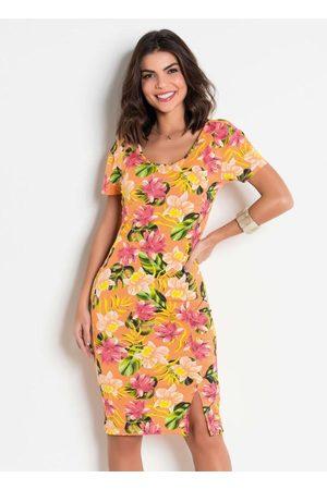 QUEIMA ESTOQUE Mulher Vestido Estampado - Vestido Justinho com Fenda Floral