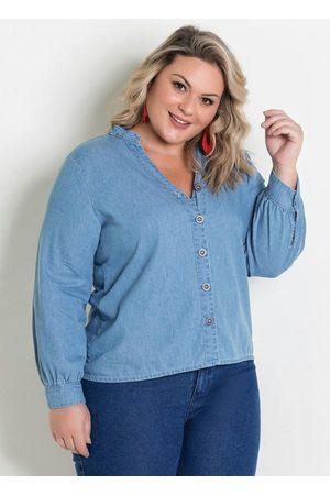 Marguerite Mulher Camisa Casual - Camisa Jeans com Mangas Bufantes Plus Size
