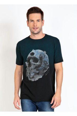 QUEIMA ESTOQUE Homem Manga Curta - Camiseta Preta com Estampa de Caveira e Degradê