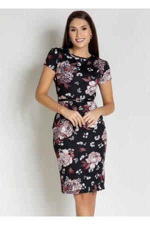 ROSALIE Mulher Vestido Estampado - Vestido Tubinho Floral Rosa Moda Evangélica