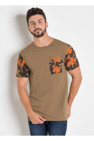 Actual Homem Camisolas de Manga Curta - Camiseta com Estampa Camuflada