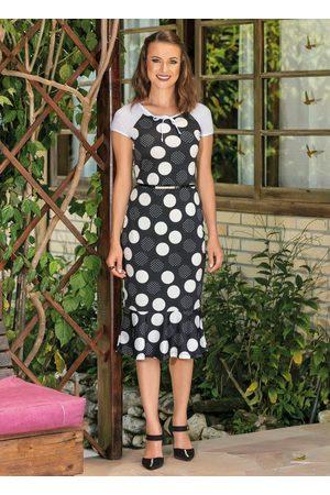 QUEIMA ESTOQUE Mulher Vestido Médio - Vestido Poá Detalhe de Amarração Moda Evangélica