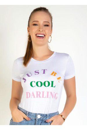 Miss Masy Blusa Branca com Mangas Curtas e Estampa