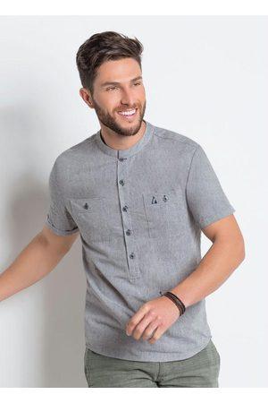 Actual Homem Camisa Manga Curta - Camisa com Bolsos e Mangas Dobradas