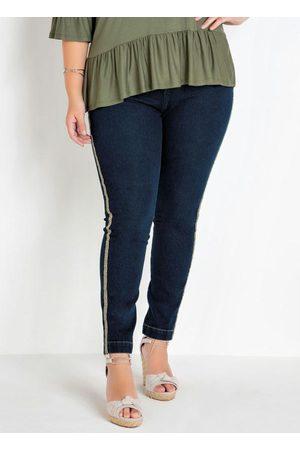 Mink Mulher Calça Skinny - Calça Jeans Skinny Plus Size com Detalhe