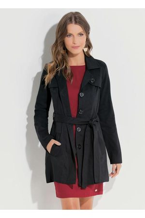QUINTESS Mulher Trench Coat - Sobretudo com Faixa na Cintura