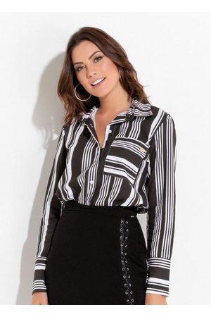 QUINTESS Mulher Camisa Casual - Camisa Listrada com Bolso