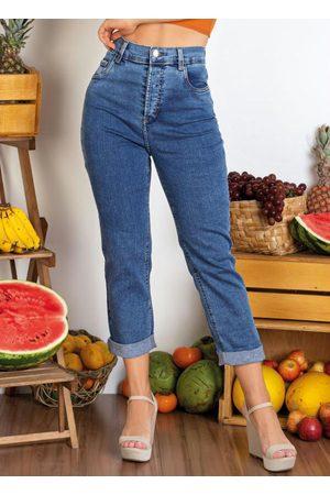 Sawary Jeans Mulher Calça Jeans Reta - Calça Jeans Reta com Bolsos Sawary