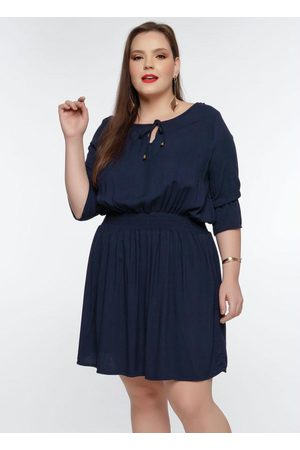 Mink Mulher Vestidos - Vestido Plus Size MarinhoElasteque