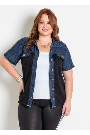 Marguerite Camisa Jeans Preta com Botões Plus Size