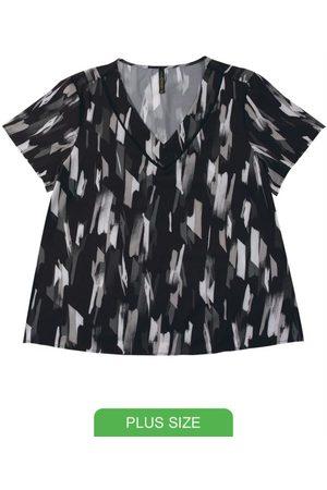 Cativa Plus Size Mulher Manga Curta - Blusa em Tecido Estampada