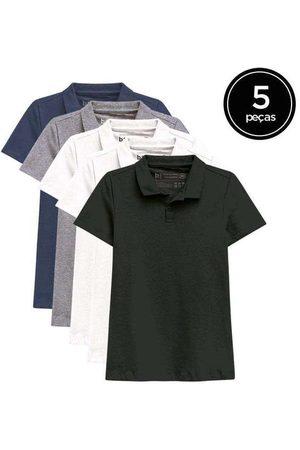 Basicamente Kit de 5 Camisas Polo Femininas de Várias Cores Br