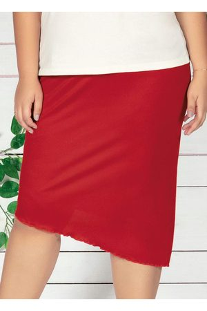Marguerite Saia Midi Vermelha Assimétrica Plus Size