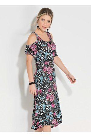 QUEIMA ESTOQUE Mulher Vestido Estampado - Vestido Quintess Midi Floral Poá