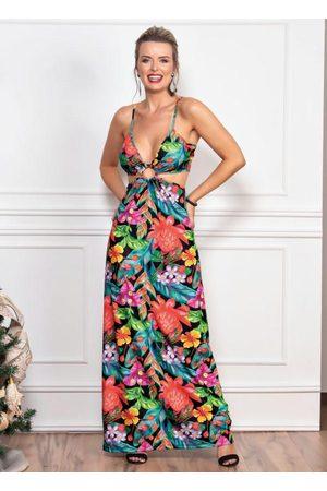 QUEIMA ESTOQUE Mulher Vestido Longo - Vestido Longo Tropical com Argola e Alças Finas