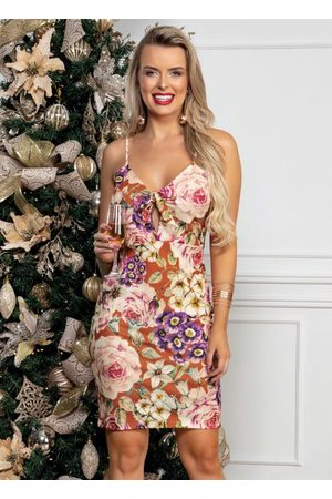 QUEIMA ESTOQUE Mulher Vestido Estampado - Vestido Midi Floral com Alças Finas