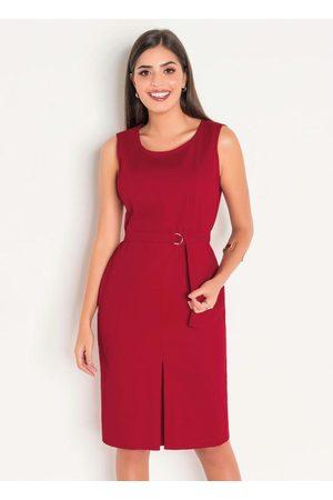 ROSALIE Vestido em Sarja Bordô Moda Evangélica