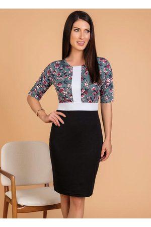 ROSALIE Mulher Vestido Estampado - Vestido Tubinho Floral Moda Evangélica