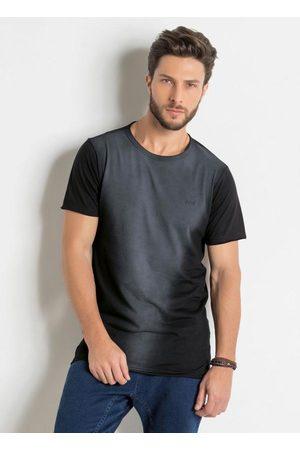 QUEIMA ESTOQUE Homem Manga Curta - Camiseta Longline Preta com Efeito Jateado