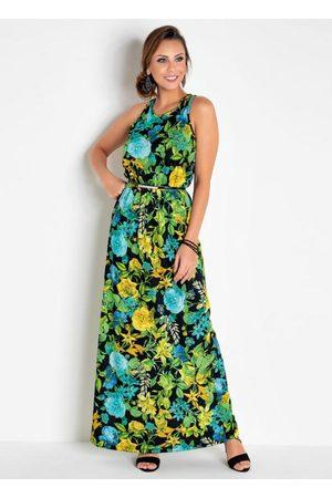 QUEIMA ESTOQUE Vestido Longo sem Mangas Floral com Recortes
